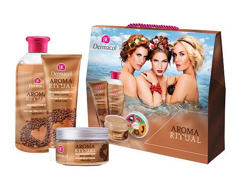 Dermacol Aroma Ritual Irish Coffee pěna do koupele dárková sada pro ženy - pěna do koupele 500 ml + sprchový gel 250 ml + tělový peeling 200 g