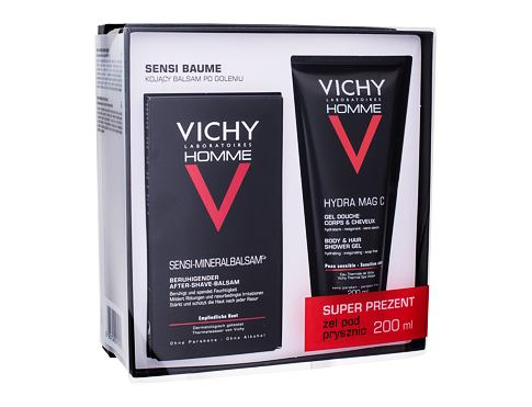 Vichy Homme Sensi Baume balzám po holení dárková sada pro muže - balzám po holení 75 ml + sprchový gel na tělo a vlasy Hydra Mag C 200 ml