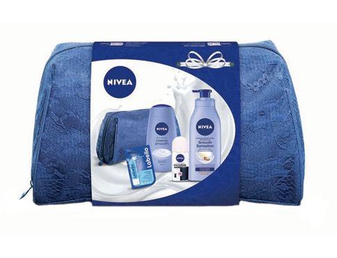Nivea Smooth Sensation tělové mléko dárková sada pro ženy - tělové mléko 400 ml + sprchový krém 250 ml + antiperspirant Black&White 50 ml + balzám na rty 5,5 ml + taška