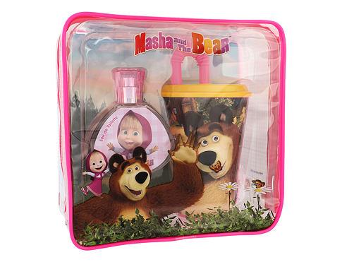 Disney Masha and The Bear EDT dárková sada unisex - EDT 50 ml + kelímek na pití s brčkem + kosmetická taška