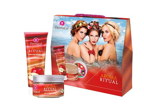 Dermacol Aroma Ritual Apple & Cinnamon sprchový gel dárková sada pro ženy - sprchový gel 250 ml + tělový peeling 200 g