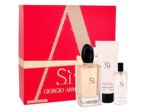 Giorgio Armani Si EDP dárková sada pro ženy - EDP 100 ml + tělové mléko 75 ml + EDP 15 ml