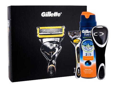 Gillette Fusion Proshield holicí strojek dárková sada pro muže - holicí strojek s jednou hlavicí 1 ks + gel na holení Fusion Proglide Sensitive Active Sport 170 ml + pouzdo na holicí strojek 1 ks