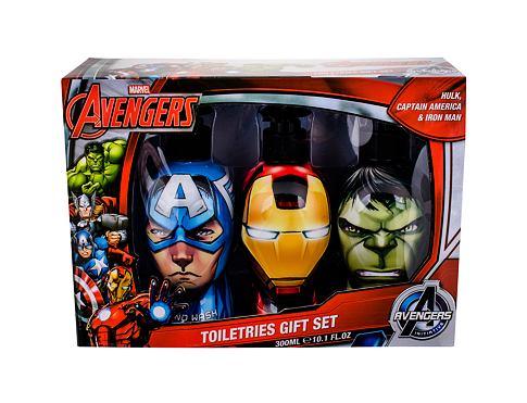 Marvel Avengers sprchový gel dárková sada Poškozená krabička unisex - sprchový gel Hulk 300 ml + šampon Iron Man 300 ml + tekuté mýdlo Captain America 300 ml