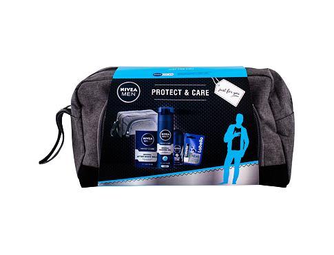 Nivea Men Protect & Care balzám po holení dárková sada pro muže - balzám po holení 100 ml + gel na holení 200 ml + antiperspirant roll-on 50 ml + balzám na rty Labello Men Active 5,5 ml + kosmetická taška