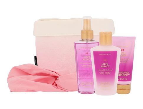 Victoria´s Secret Love Addict tělový závoj dárková sada pro ženy - tělový závoj 125 ml + tělový krém 60 ml + tělové mléko 125 ml + čelenka + látkový košík