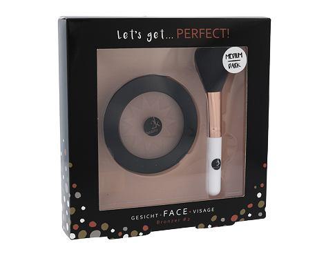 2K Let´s Get Perfect! bronzer dárková sada Medium/Dark pro ženy - bronzer 10 g + kosmetický štětec 1 ks