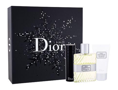 Christian Dior Eau Sauvage EDT dárková sada pro muže - EDT 100 ml + sprchový gel 50 ml + EDT naplnitelná 10 ml