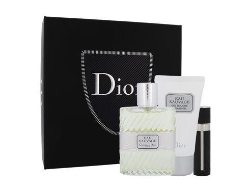 Christian Dior Eau Sauvage EDT dárková sada pro muže - EDT 100 ml + sprchový gel 50 ml + EDT naplnitelná 3 ml