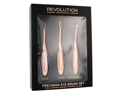 Makeup Revolution London Brushes Precision Eye Brush štětec dárková sada pro ženy - kosmetický štětec na oční stíny 1 ks kulatý + kosmetický štětec na oční stíny 1 ks oválný + kosmetický štětec na oční linky 1 ks
