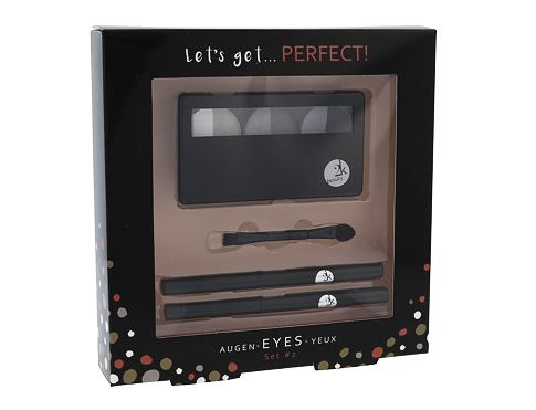 2K Let´s Get Perfect! dekorativní kazeta dárková sada Grey pro ženy - paletka očních stínů 3 x 2,2 g + aplikátor očních stínů 1 ks + tužka na oči 0,2 g 086 + tužka na oči 0,2 g 087