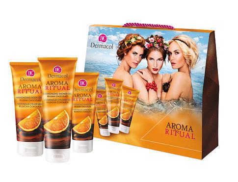 Dermacol Aroma Ritual Belgian Chocolate sprchový gel dárková sada pro ženy - sprchový gel 250 ml + tělové mléko 200 ml + krém na ruce 100 ml