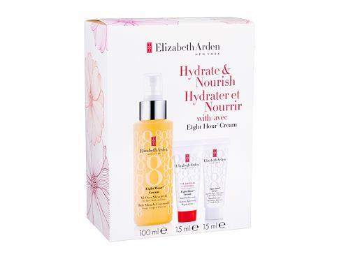 Elizabeth Arden Eight Hour Cream All-Over Miracle Oil tělový olej dárková sada pro ženy - hydratační olej 100 ml + denní pleťová péče SPF15 15 ml + ochranná péče 15 ml