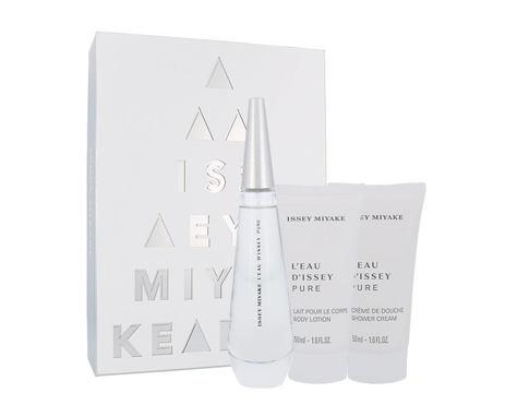 Issey Miyake L´Eau D´Issey Pure EDP dárková sada pro ženy - EDP 50 ml + tělové mléko 50 ml + sprchový krém 50 ml