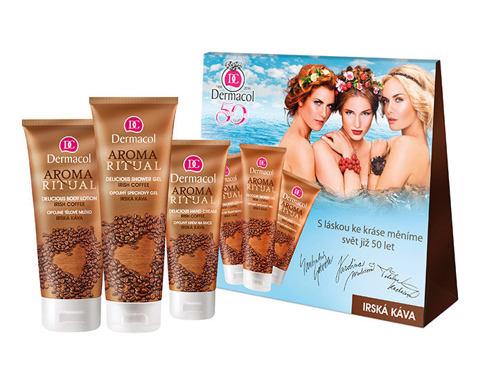 Dermacol Aroma Ritual Irish Coffee sprchový gel dárková sada pro ženy - sprchový gel 250 ml + tělové mléko 200 ml + krém na ruce 100 ml