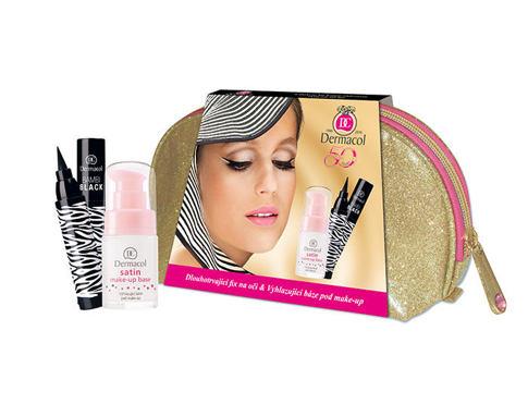 Dermacol Satin podklad pod makeup dárková sada pro ženy - podklad pod makeup 15 ml + oční linka Bambi Black 2 ml + taška