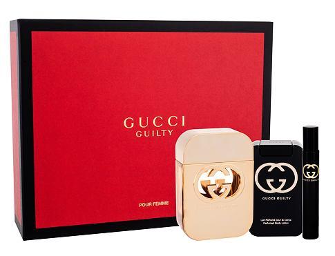 Gucci Gucci Guilty EDT dárková sada pro ženy - EDT 75 ml + tělové mléko 100 ml + EDT 7,4 ml