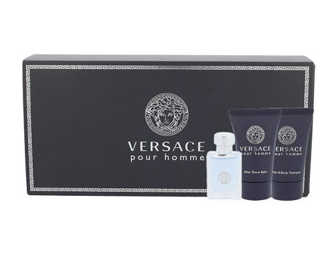 Versace Pour Homme EDT dárková sada pro muže - EDT 5 ml + sprchový gel 25 ml + balzám po holení 25 ml