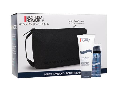 Biotherm Homme Soothing Balm balzám po holení dárková sada pro muže - balzám po holení Homme Soothing Balm After Shave 100 ml + pěna na holení Homme Foam Shaver 50 ml + kosmetická taška