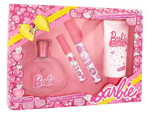 Barbie Barbie EDT dárková sada unisex - EDT 100 ml + EDT 9,5 ml + lesk na rty 2,5 ml + tělové mléko 150 ml