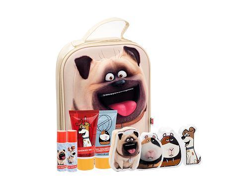 Universal The Secret Life Of Pets sprchový gel dárková sada unisex - sprchový gel 50 ml + šampon 2 v 1 50 ml + balzám na rty 2 x 4,5 g + šumivé tablety do koupele 2 x 20 g + kouzelný ručník 2 ks + kosmetická taška