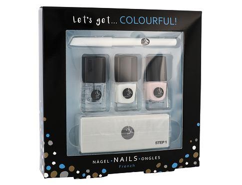 2K Let´s Get Colourful! lak na nehty dárková sada pro ženy - lak na nehty 3x 5 ml + tužka na nehty 2 g + pilník na nehty 1 ks