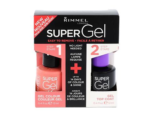 Rimmel London Super Gel By Kate lak na nehty dárková sada 031 Perfect Posy pro ženy - Super Gel By Kate 12 ml + Super Gel Top Coat 12 ml