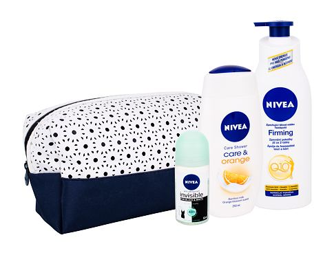 Nivea Care & Orange sprchový gel dárková sada pro ženy - sprchový gel Care & Orange 250 ml + zpevňující tělové mléko Q10 Energy+ 400 ml + antiperspirant Invisible For Black & White Fresh 50 ml + taška